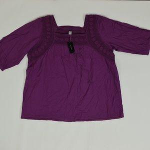 Venezia Plus 18/20 Purple   Blouse Cotton Solid